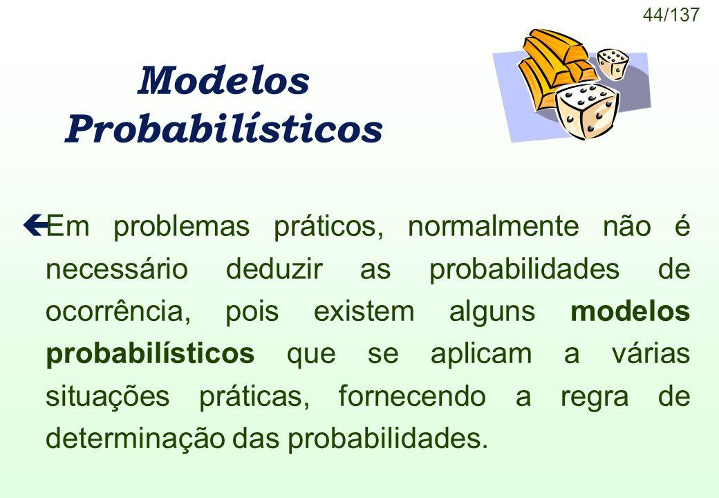 44/137 Modelos Probabilísticos çEm problemas práticos, normalmente não é necessário deduzir as probabilidades de ocorrência, pois existem alguns model
