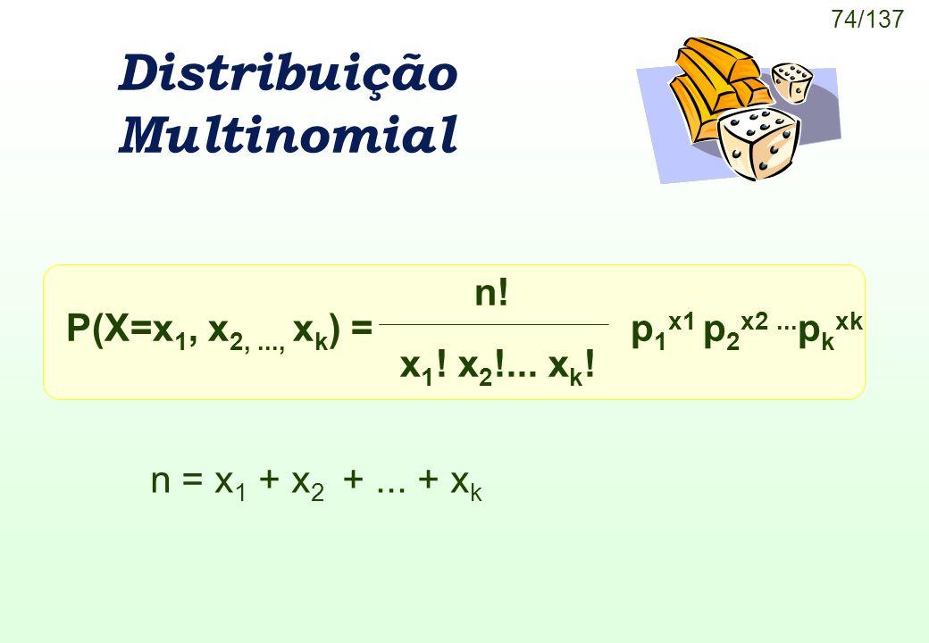 74/137 Distribuição Multinomial P(X=x 1, x 2,..., x k ) =p 1 x1 p 2 x2... p k xk n! x 1 ! x 2 !... x k ! n = x 1 + x 2 +... + x k