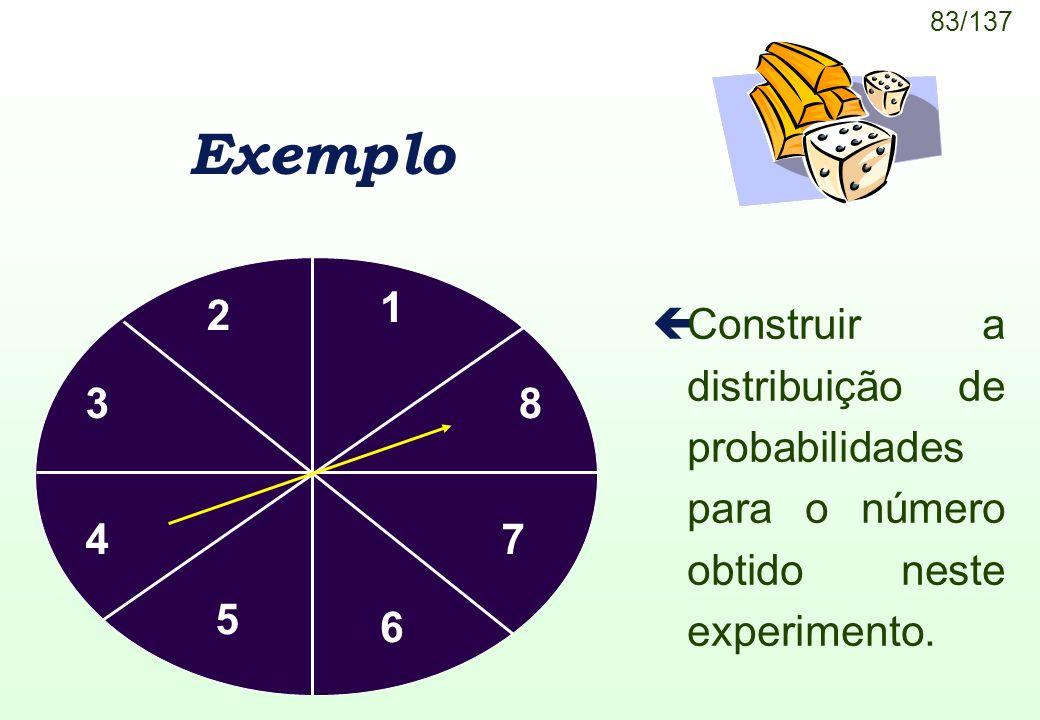 83/137 Exemplo çConstruir a distribuição de probabilidades para o número obtido neste experimento. 1 2 3 4 5 6 7 8