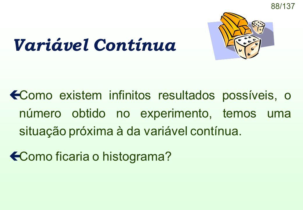 88/137 Variável Contínua çComo existem infinitos resultados possíveis, o número obtido no experimento, temos uma situação próxima à da variável contín