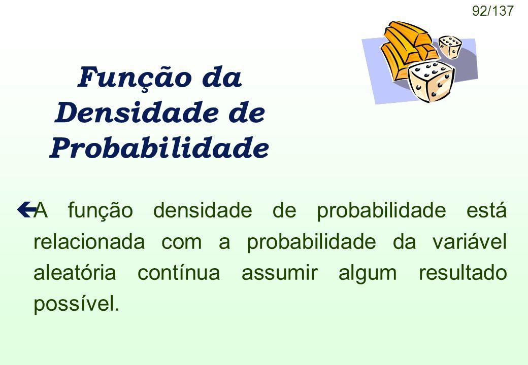92/137 Função da Densidade de Probabilidade çA função densidade de probabilidade está relacionada com a probabilidade da variável aleatória contínua a