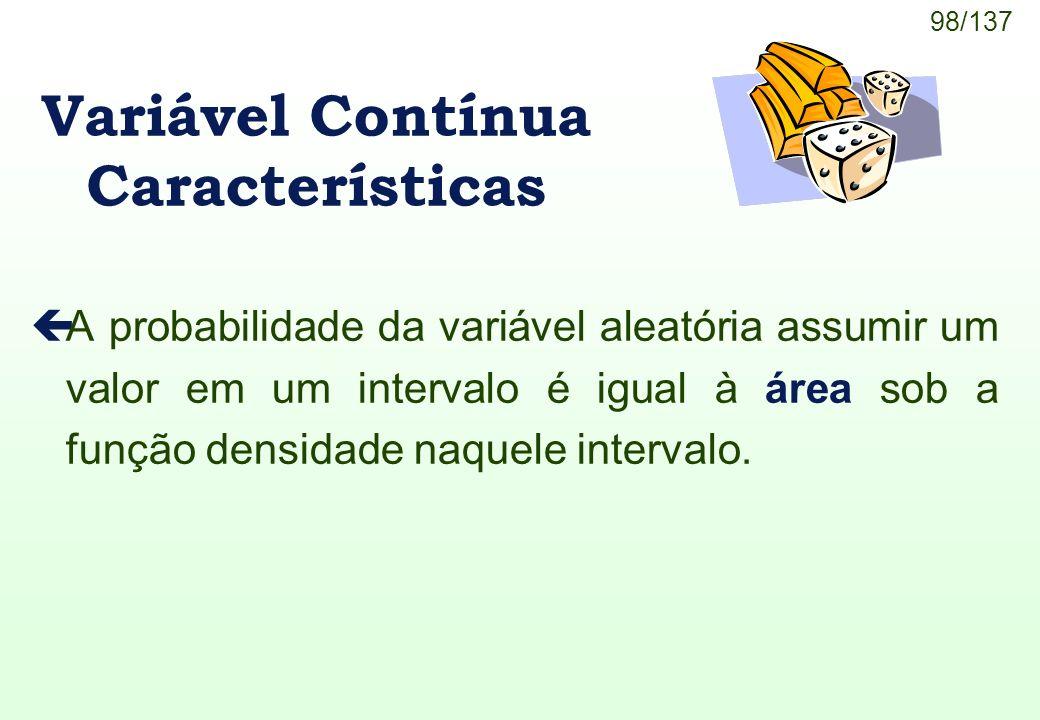 98/137 çA probabilidade da variável aleatória assumir um valor em um intervalo é igual à área sob a função densidade naquele intervalo. Variável Contí