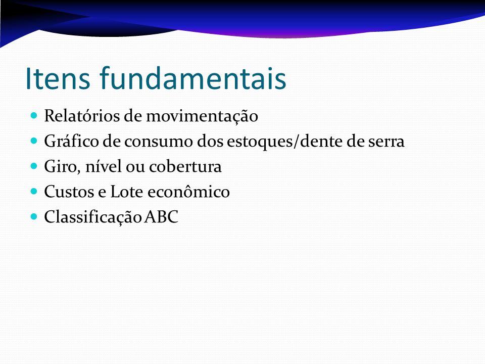 Itens fundamentais Relatórios de movimentação Gráfico de consumo dos estoques/dente de serra Giro, nível ou cobertura Custos e Lote econômico Classifi