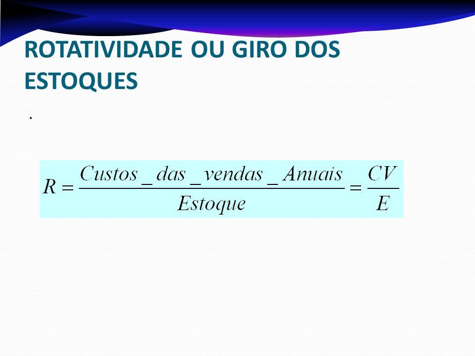 ROTATIVIDADE OU GIRO DOS ESTOQUES.