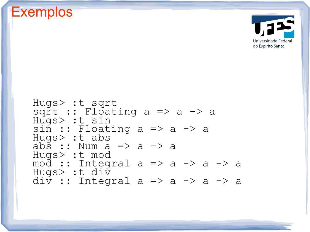 Exemplos Hugs> :t sqrt sqrt :: Floating a => a -> a Hugs> :t sin sin :: Floating a => a -> a Hugs> :t abs abs :: Num a => a -> a Hugs> :t mod mod :: I