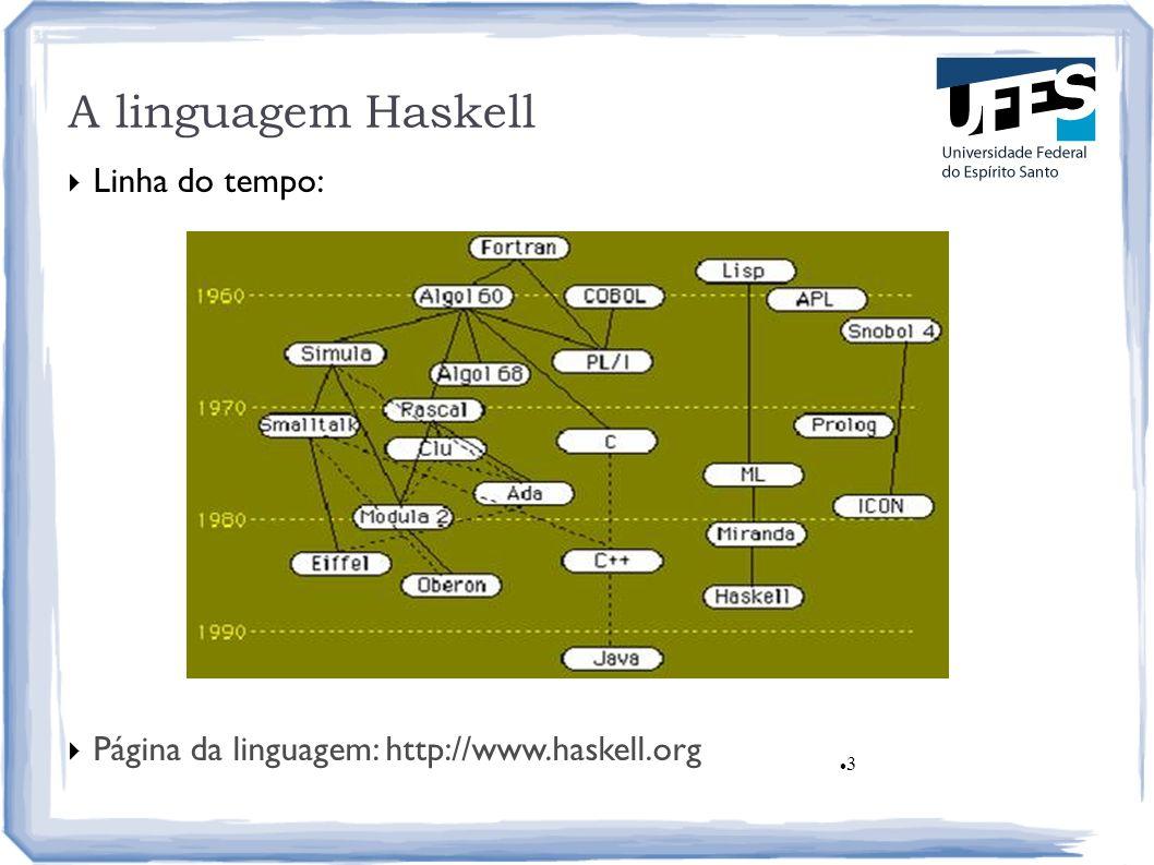 3 A linguagem Haskell Linha do tempo: Página da linguagem: http://www.haskell.org