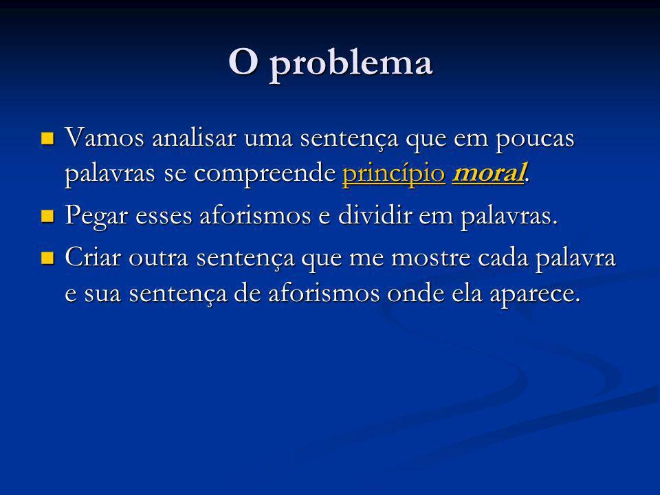 O problema Vamos analisar uma sentença que em poucas palavras se compreende princípio moral.