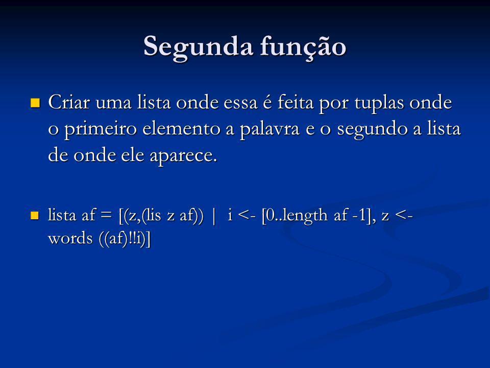 Segunda função Criar uma lista onde essa é feita por tuplas onde o primeiro elemento a palavra e o segundo a lista de onde ele aparece. Criar uma list