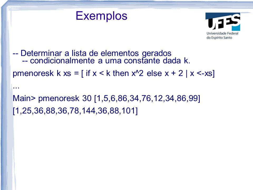Exemplos -- Determinar a lista de elementos gerados -- condicionalmente a uma constante dada k.