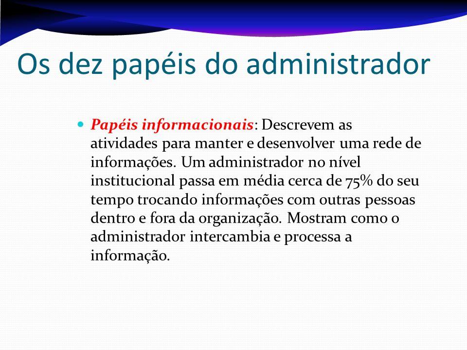 Os dez papéis do administrador Papéis decisórios: Envolvem eventos e situações em que o administrador deve fazer uma escolha ou opção.