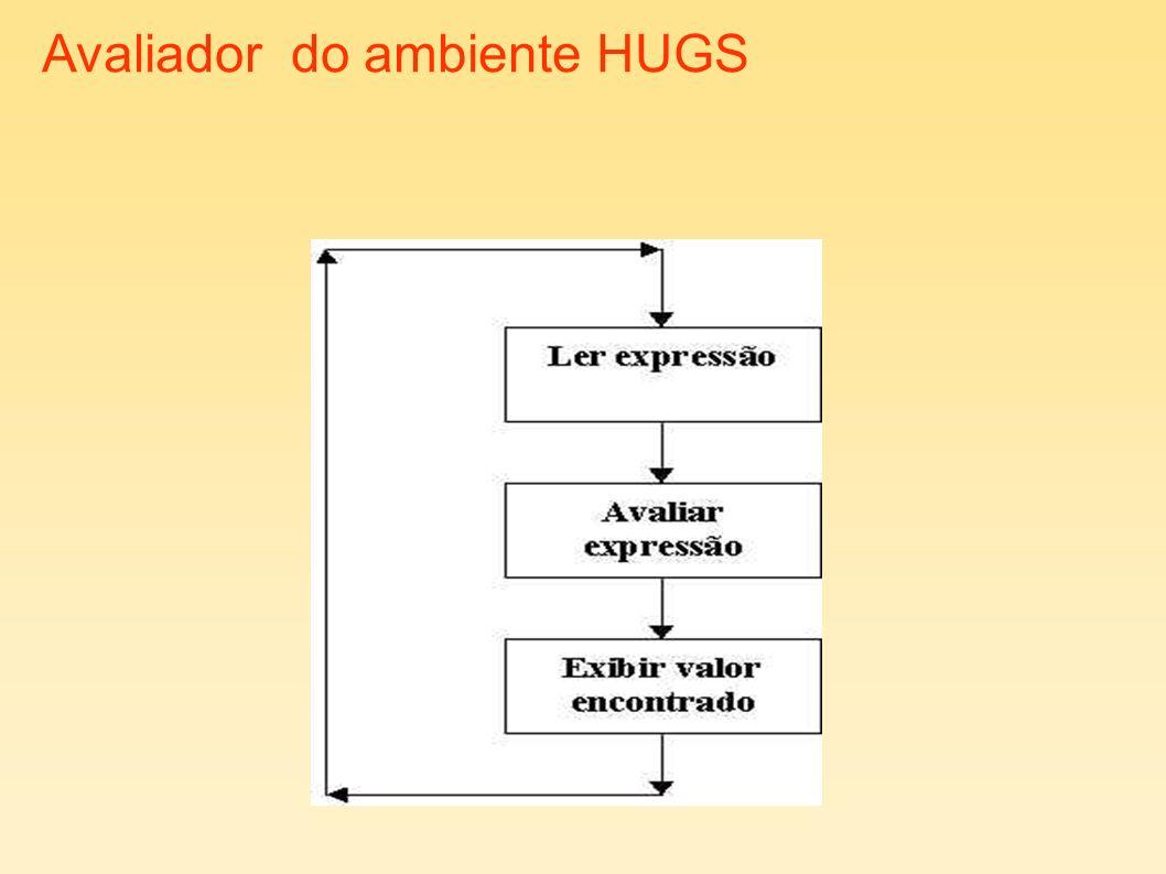 Exemplos Hugs> :t sqrt sqrt :: Floating a => a -> a Hugs> :t sin sin :: Floating a => a -> a Hugs> :t abs abs :: Num a => a -> a Hugs> :t mod mod :: Integral a => a -> a -> a Hugs> :t div div :: Integral a => a -> a -> a