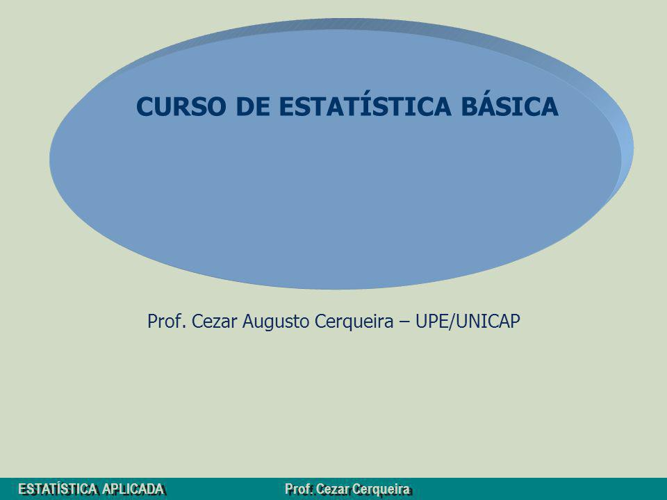 ESTATÍSTICA APLICADA Prof. Cezar Cerqueira Prof. Cezar Augusto Cerqueira – UPE/UNICAP CURSO DE ESTATÍSTICA BÁSICA