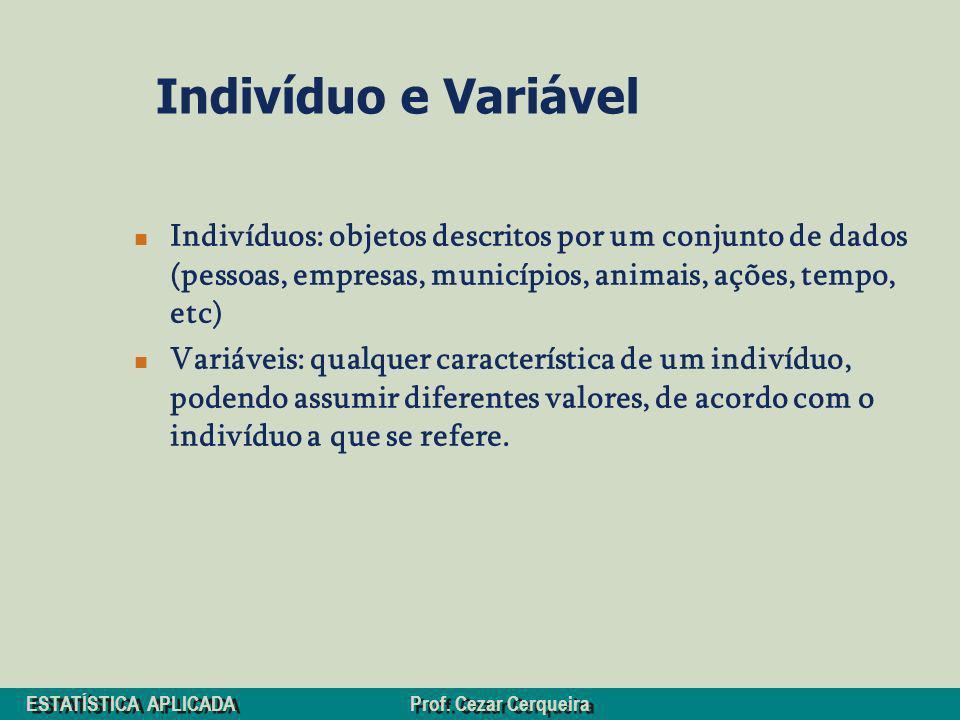 ESTATÍSTICA APLICADA Prof. Cezar Cerqueira Indivíduo e Variável Indivíduos: objetos descritos por um conjunto de dados (pessoas, empresas, municípios,
