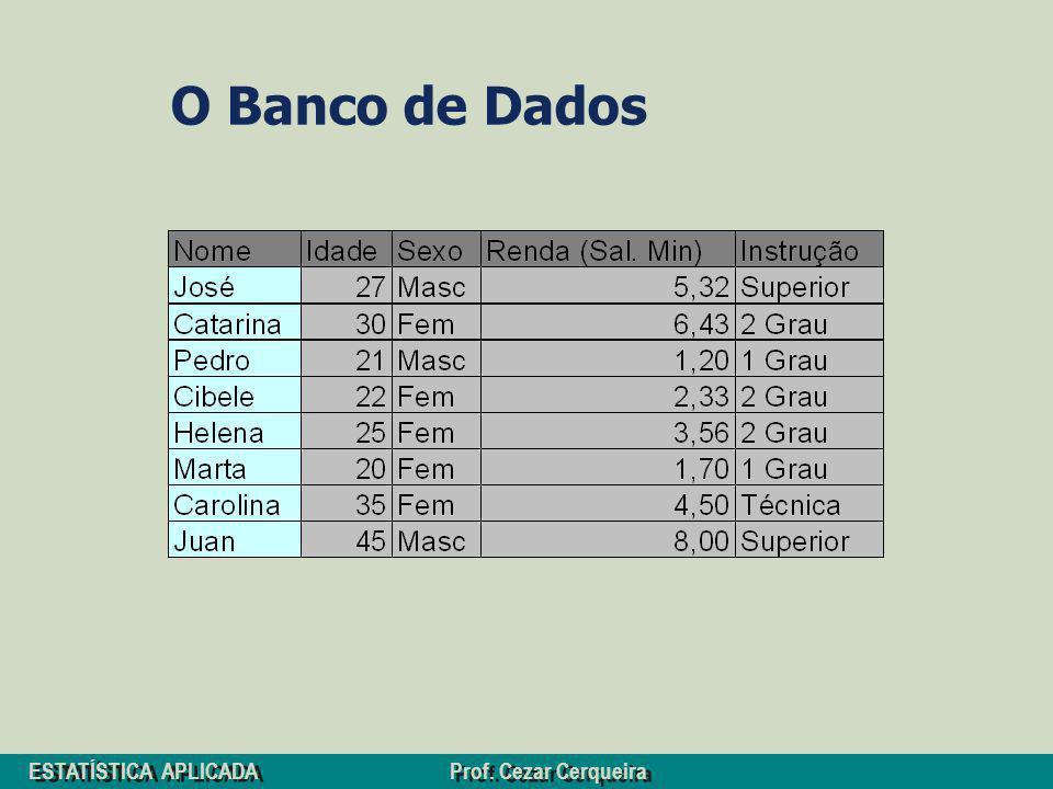 ESTATÍSTICA APLICADA Prof. Cezar Cerqueira O Banco de Dados