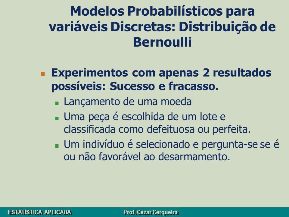 ESTATÍSTICA APLICADA Prof. Cezar Cerqueira Modelos Probabilísticos para variáveis Discretas: Distribuição de Bernoulli Experimentos com apenas 2 resul