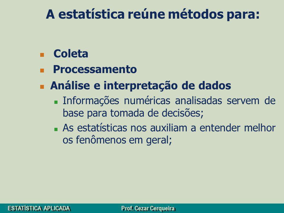 ESTATÍSTICA APLICADA Prof. Cezar Cerqueira A estatística reúne métodos para: Coleta Processamento Análise e interpretação de dados Informações numéric