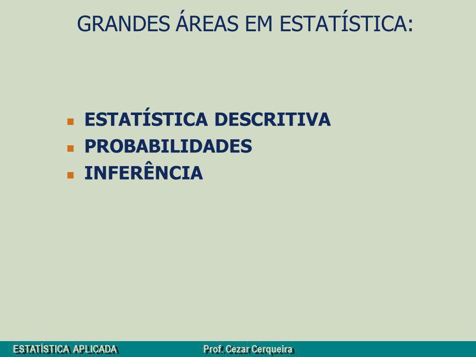 ESTATÍSTICA APLICADA Prof. Cezar Cerqueira GRANDES ÁREAS EM ESTATÍSTICA: ESTATÍSTICA DESCRITIVA PROBABILIDADES INFERÊNCIA
