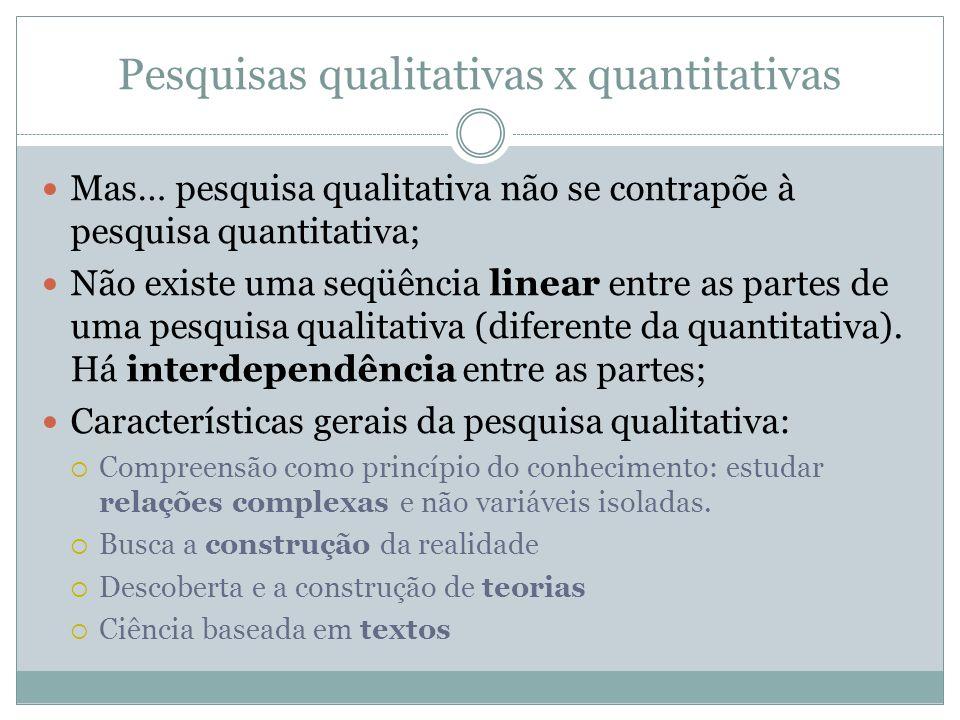Pesquisas qualitativas x quantitativas Mas… pesquisa qualitativa não se contrapõe à pesquisa quantitativa; Não existe uma seqüência linear entre as pa