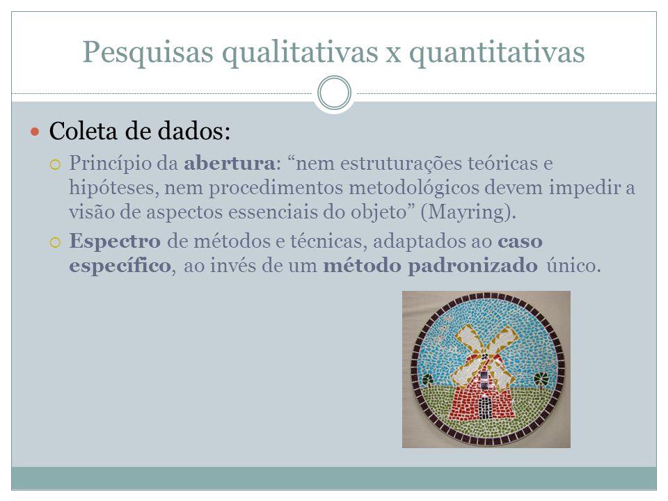 Pesquisas qualitativas x quantitativas Coleta de dados: Princípio da abertura: nem estruturações teóricas e hipóteses, nem procedimentos metodológicos