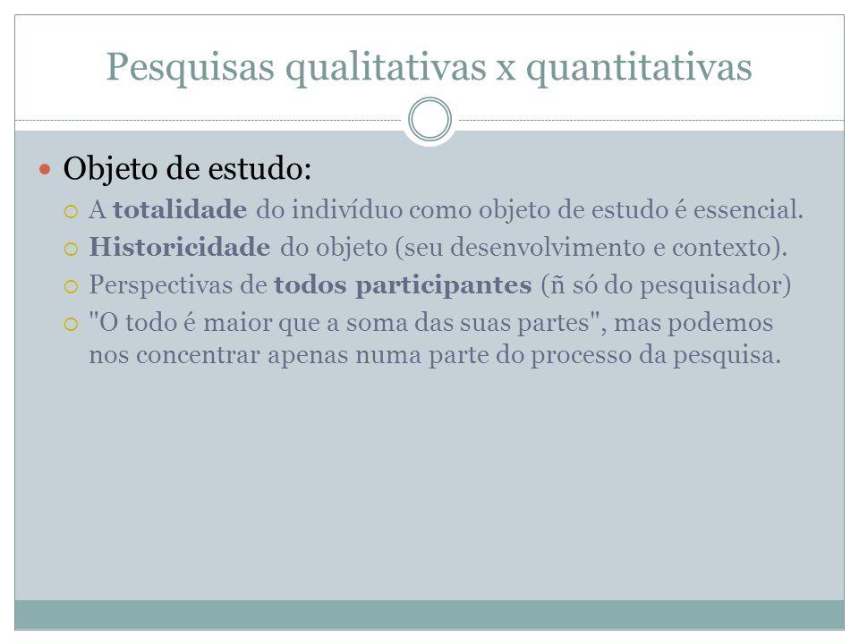 Pesquisas qualitativas x quantitativas Objeto de estudo: A totalidade do indivíduo como objeto de estudo é essencial. Historicidade do objeto (seu des