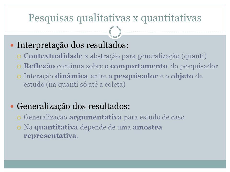Pesquisas qualitativas x quantitativas Interpretação dos resultados: Contextualidade x abstração para generalização (quanti) Reflexão contínua sobre o