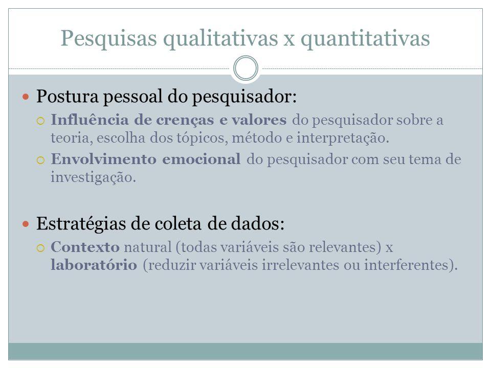 Pesquisas qualitativas x quantitativas Postura pessoal do pesquisador: Influência de crenças e valores do pesquisador sobre a teoria, escolha dos tópi