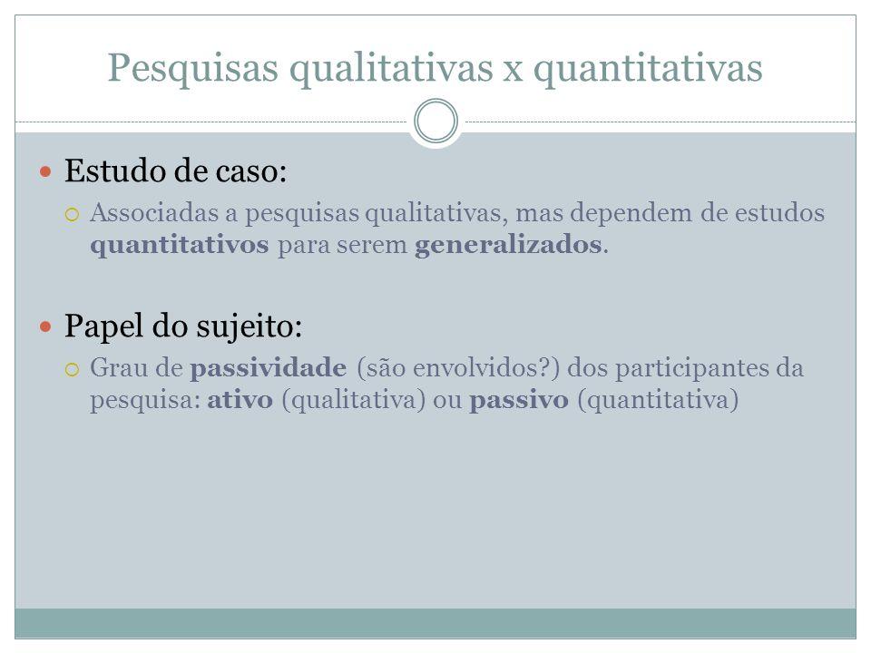 Pesquisas qualitativas x quantitativas Estudo de caso: Associadas a pesquisas qualitativas, mas dependem de estudos quantitativos para serem generaliz