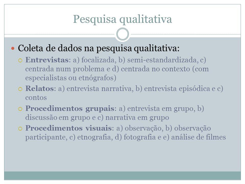 Pesquisa qualitativa Coleta de dados na pesquisa qualitativa: Entrevistas: a) focalizada, b) semi-estandardizada, c) centrada num problema e d) centra
