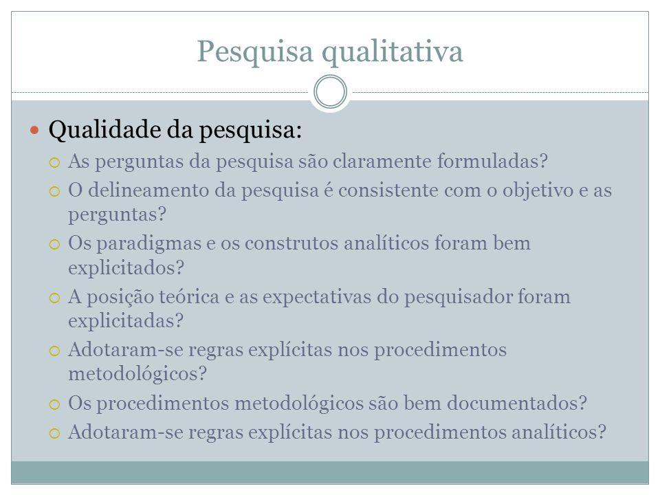 Pesquisa qualitativa Qualidade da pesquisa: As perguntas da pesquisa são claramente formuladas? O delineamento da pesquisa é consistente com o objetiv