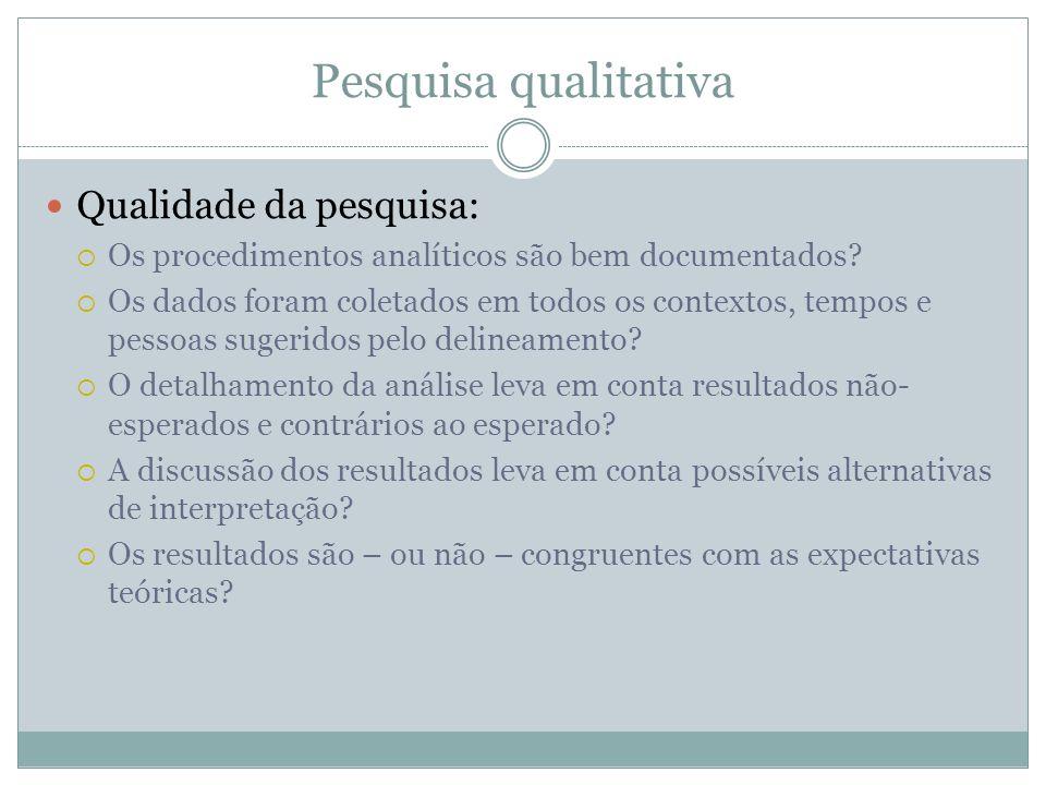 Pesquisa qualitativa Qualidade da pesquisa: Os procedimentos analíticos são bem documentados? Os dados foram coletados em todos os contextos, tempos e
