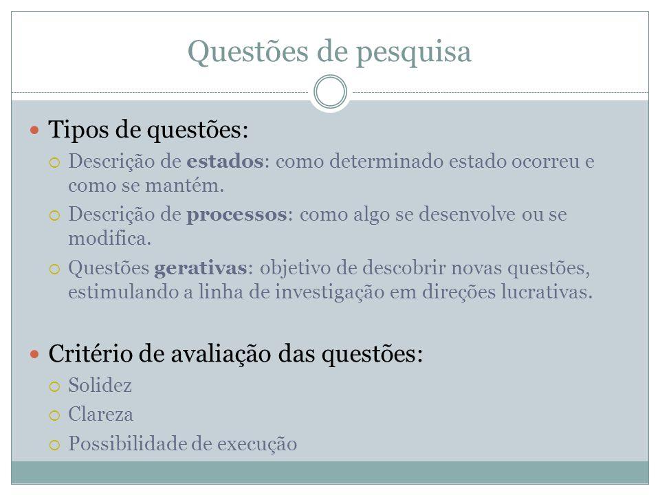 Questões de pesquisa Tipos de questões: Descrição de estados: como determinado estado ocorreu e como se mantém. Descrição de processos: como algo se d