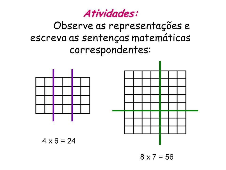 Atividades: Atividades: Observe as representações e escreva as sentenças matemáticas correspondentes: 4 x 6 = 24 8 x 7 = 56