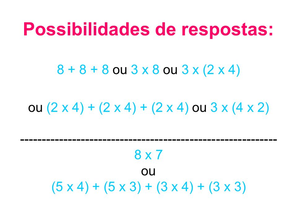 Possibilidades de respostas: 8 + 8 + 8 ou 3 x 8 ou 3 x (2 x 4) ou (2 x 4) + (2 x 4) + (2 x 4) ou 3 x (4 x 2) -----------------------------------------