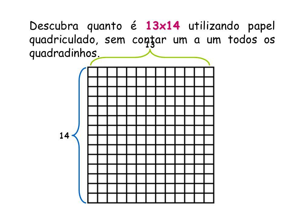 Usando a distributividade: 13 x (10+4) = 13 x 10 + 13 x 4 = 13 10 4 3 3x10+ 10x4 + 3x4 = = (10+3) x 10 + (10+3)x 4 = = 10x10+ 100 + 30 + 40 + 12 = = 182
