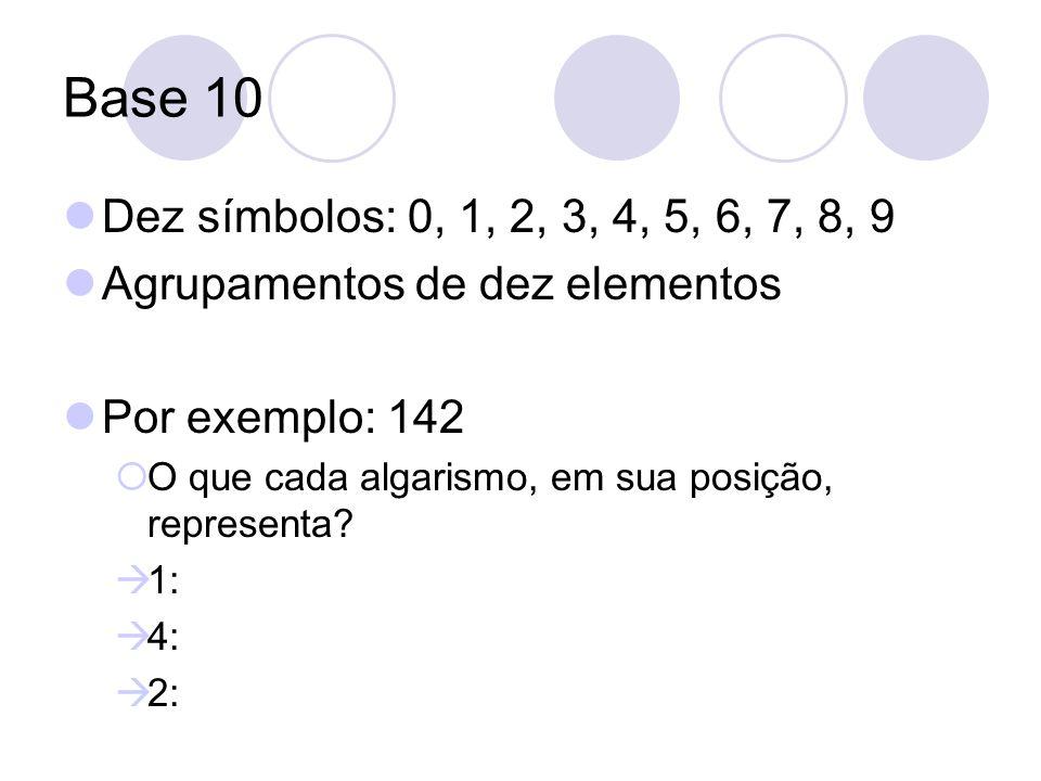 Base 10 Dez símbolos: 0, 1, 2, 3, 4, 5, 6, 7, 8, 9 Agrupamentos de dez elementos Por exemplo: 142 O que cada algarismo, em sua posição, representa? 1: