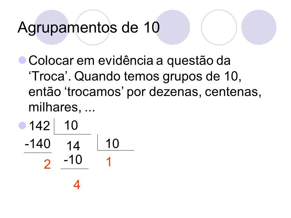 Agrupamentos de 10 Colocar em evidência a questão da Troca. Quando temos grupos de 10, então trocamos por dezenas, centenas, milhares,... 142 10 14 -1