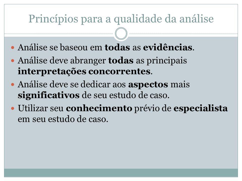 Princípios para a qualidade da análise Análise se baseou em todas as evidências. Análise deve abranger todas as principais interpretações concorrentes