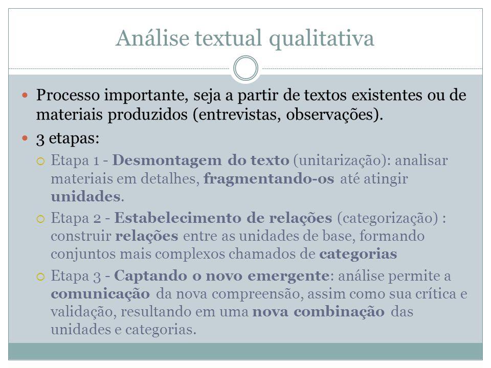 Análise textual qualitativa Processo importante, seja a partir de textos existentes ou de materiais produzidos (entrevistas, observações). 3 etapas: E