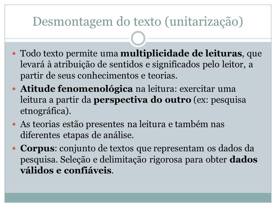 Desmontagem do texto (unitarização) Todo texto permite uma multiplicidade de leituras, que levará à atribuição de sentidos e significados pelo leitor,
