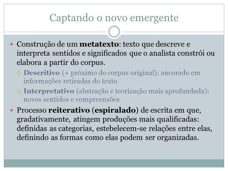 Captando o novo emergente Construção de um metatexto: texto que descreve e interpreta sentidos e significados que o analista constrói ou elabora a par