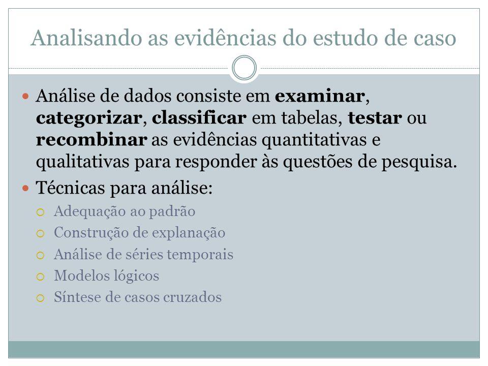 Analisando as evidências do estudo de caso Análise de dados consiste em examinar, categorizar, classificar em tabelas, testar ou recombinar as evidênc
