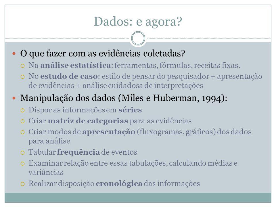 Dados: e agora? O que fazer com as evidências coletadas? Na análise estatística: ferramentas, fórmulas, receitas fixas. No estudo de caso: estilo de p