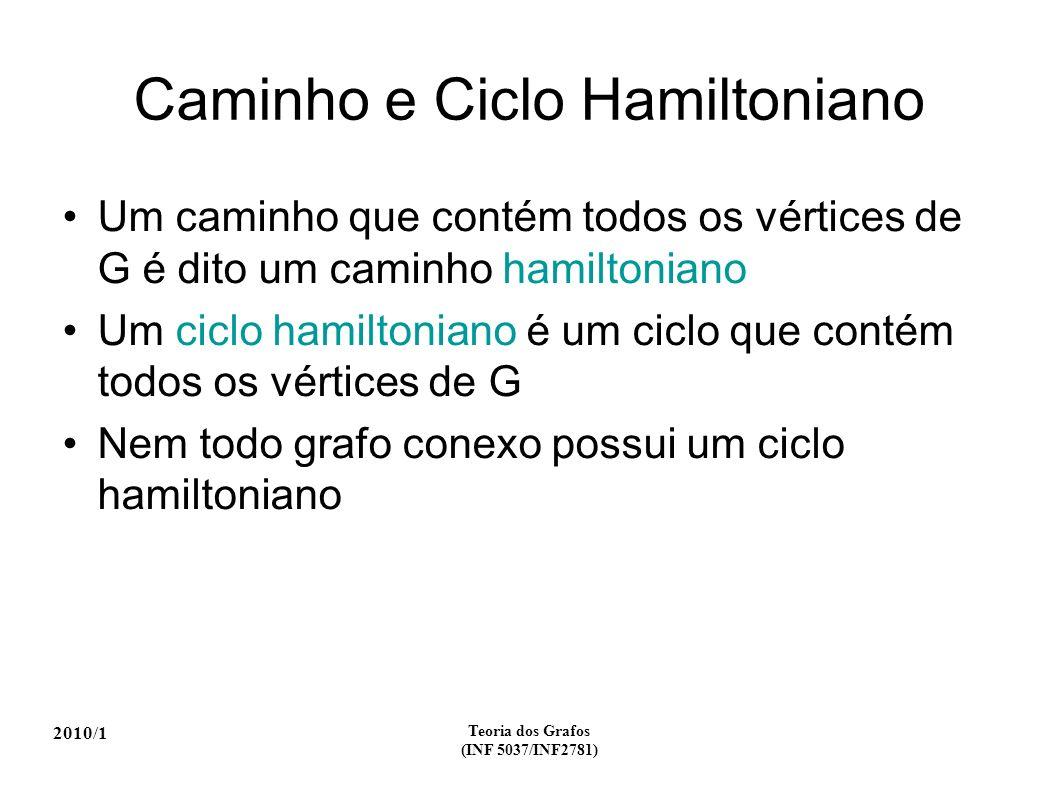2010/1 Teoria dos Grafos (INF 5037/INF2781) Caminho e Ciclo Hamiltoniano Um caminho que contém todos os vértices de G é dito um caminho hamiltoniano U