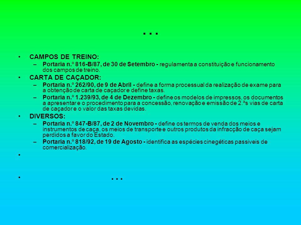 … CAMPOS DE TREINO: –Portaria n.º 816-B/87, de 30 de Setembro - regulamenta a constituição e funcionamento dos campos de treino. CARTA DE CAÇADOR: –Po
