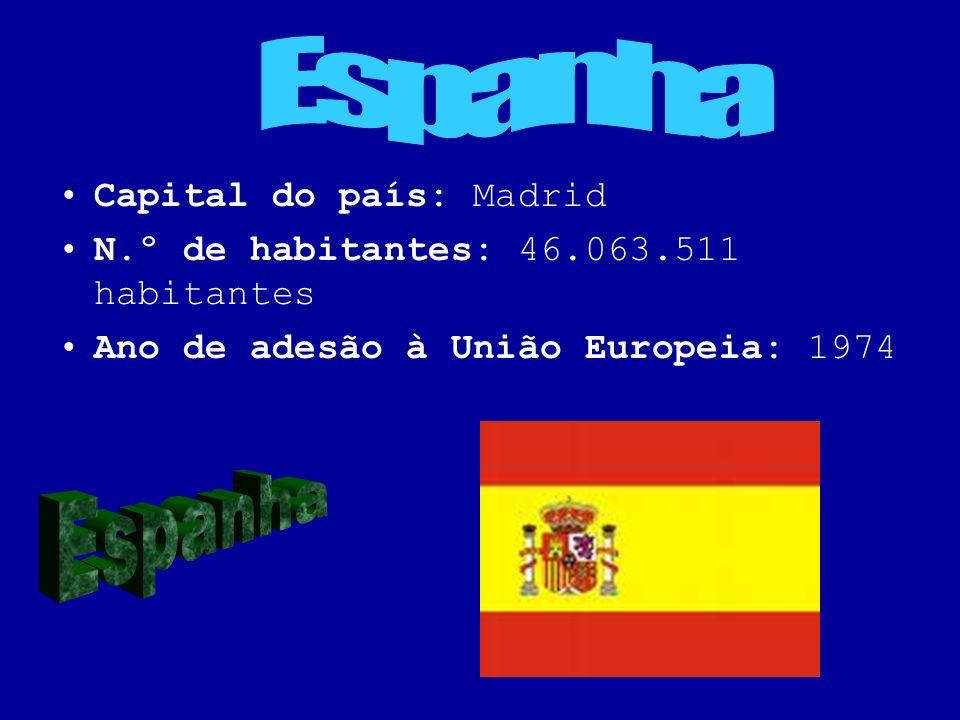 Capital do país: Madrid N.º de habitantes: 46.063.511 habitantes Ano de adesão à União Europeia: 1974