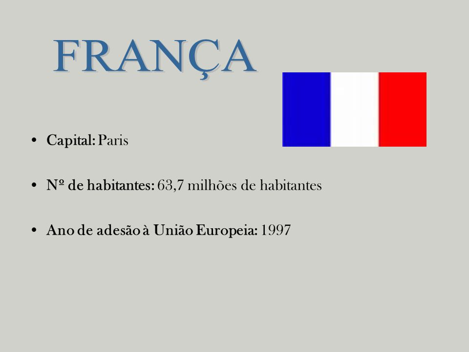 Capital: Paris Nº de habitantes: 63,7 milhões de habitantes Ano de adesão à União Europeia: 1997