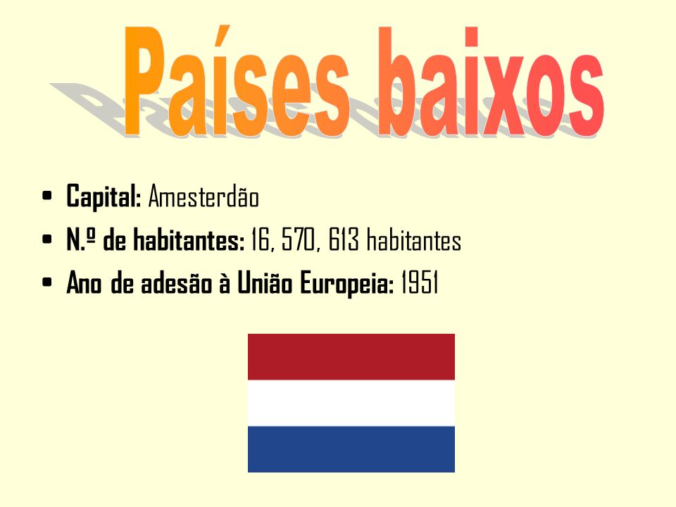 Capital: Amesterdão N.º de habitantes: 16, 570, 613 habitantes Ano de adesão à União Europeia: 1951