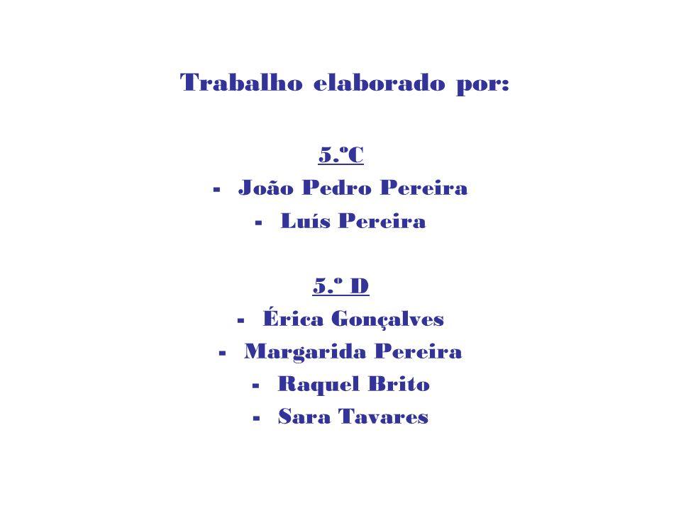 Trabalho elaborado por: 5.ºC -João Pedro Pereira -Luís Pereira 5.º D -Érica Gonçalves -Margarida Pereira -Raquel Brito -Sara Tavares