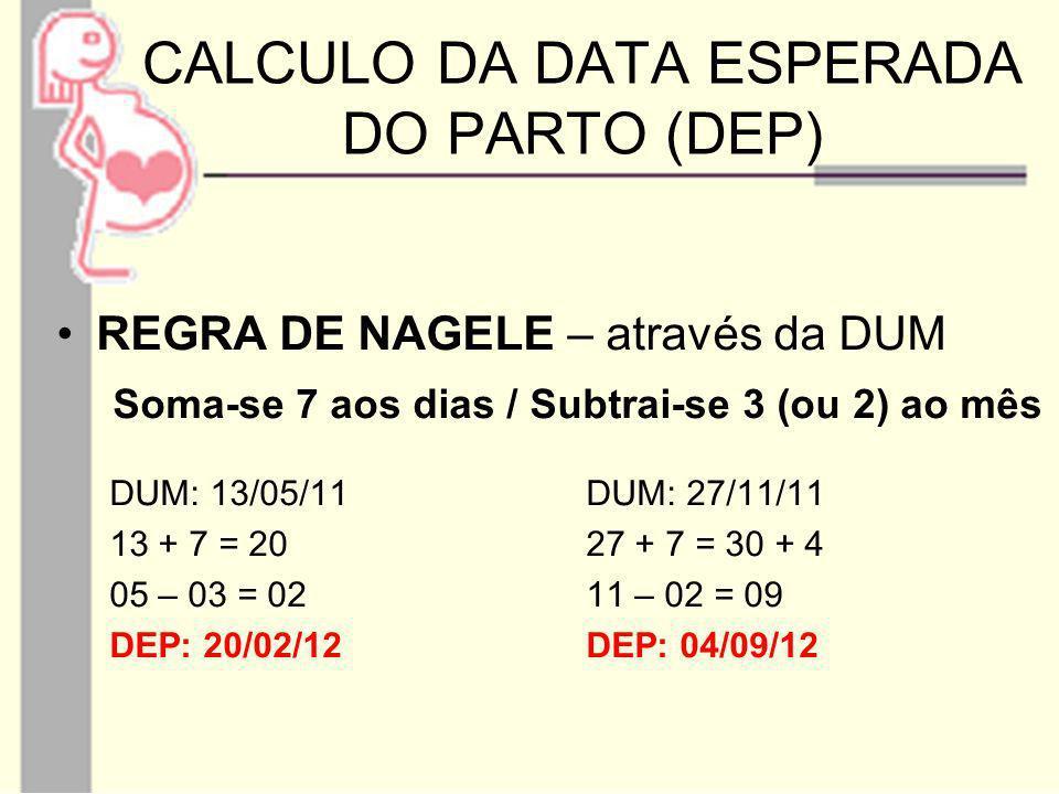 CALCULO DA DATA ESPERADA DO PARTO (DEP) REGRA DE NAGELE – através da DUM Soma-se 7 aos dias / Subtrai-se 3 (ou 2) ao mês DUM: 13/05/11DUM: 27/11/11 13