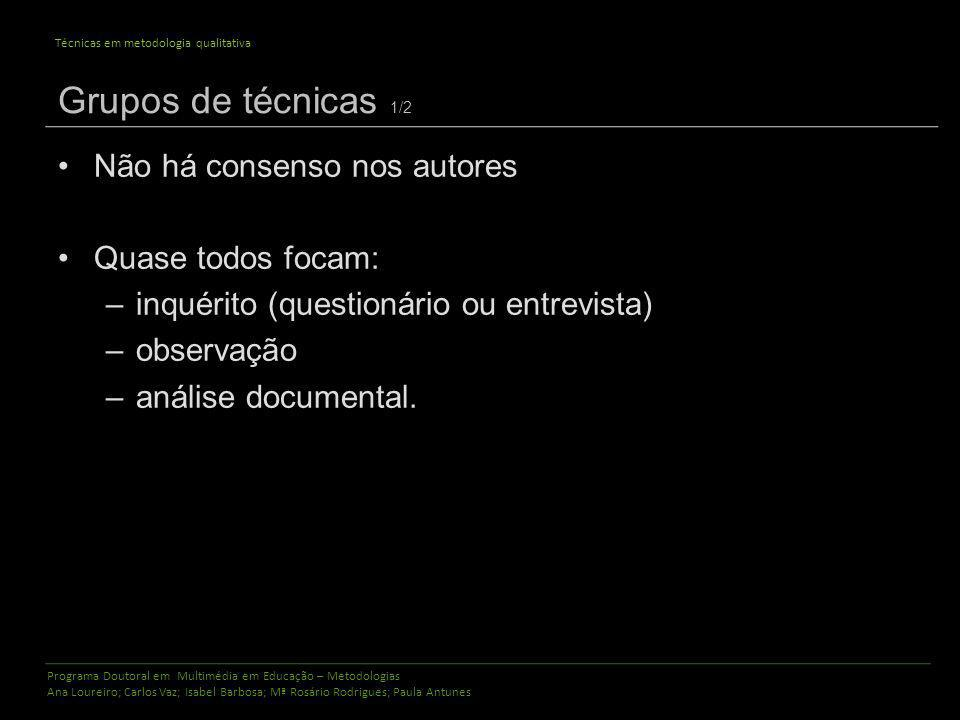 Programa Doutoral em Multimédia em Educação – Metodologias Ana Loureiro; Carlos Vaz; Isabel Barbosa; Mª Rosário Rodrigues; Paula Antunes Técnicas em m